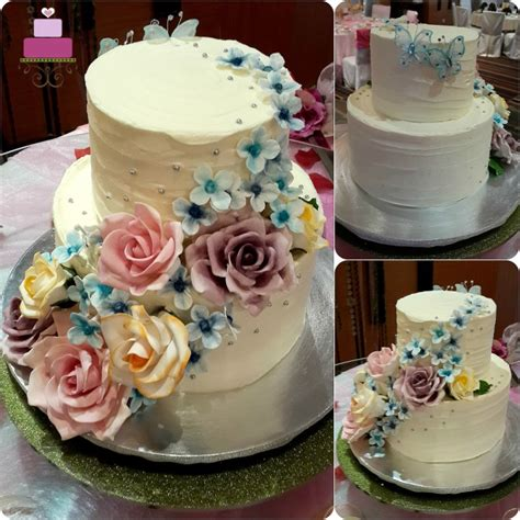 2 Tier Rustic Buttercream Wedding Cake