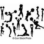 Silhouette Cheerleader Vector Clipart Pom Clip Illustrations