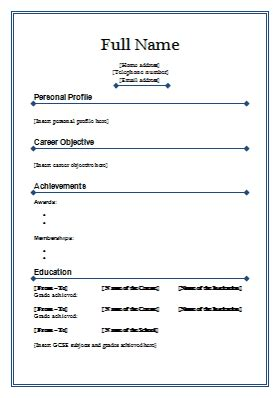 Typical Cv Format by Standard Cv Template 4