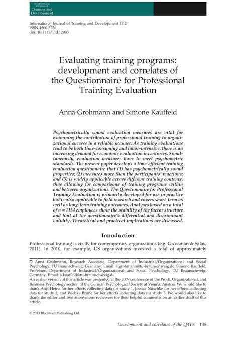 evaluating training programs development