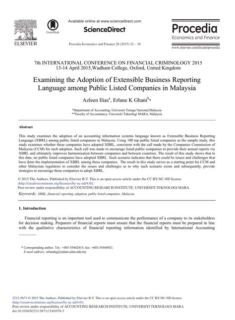 This article lists the largest companies in malaysia in terms of their revenue, net profit and total assets, according to the american business magazines fortune and forbes. (PDF) Examining the Adoption of Extensible Business ...