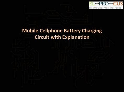 Mobile Cellphone Battery Charging Circuit With Explanation