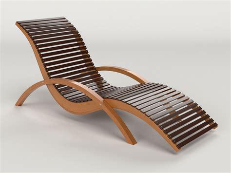 lounge chair outdoor wood patio deck  model obj mtl