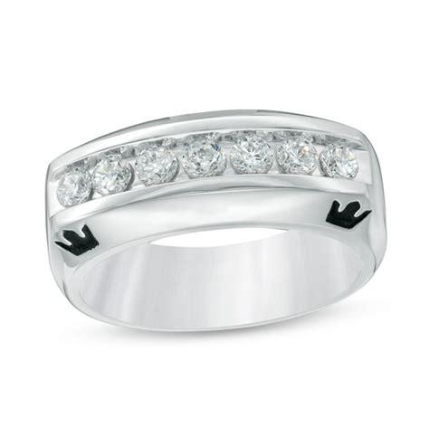 enchanted disney men s 3 4 ct t w diamond crown wedding band in 14k white gold wedding bands