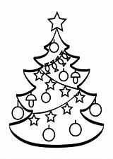 Tree Coloring Christmas Pages Printable Chrismas Decorated sketch template