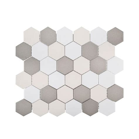 honeycomb mosaic floor tiles jeffrey court honeycomb 11 in x 12 625 in x 6 mm porcelain mosaic tile 99392 the home depot