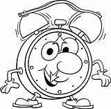Clock Alarm Coloring Pages Walking sketch template