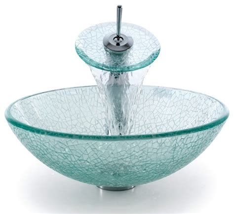 glass vessel sink with waterfall faucet kraus c gv 500 12mm 10 broken glass vessel sink and