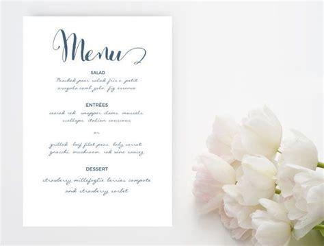navy blue script font wedding menu word template