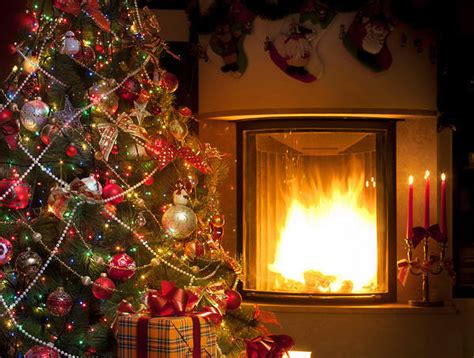 Cozy Christmas Home Decor: Christmas Background With Fireplace And Tree