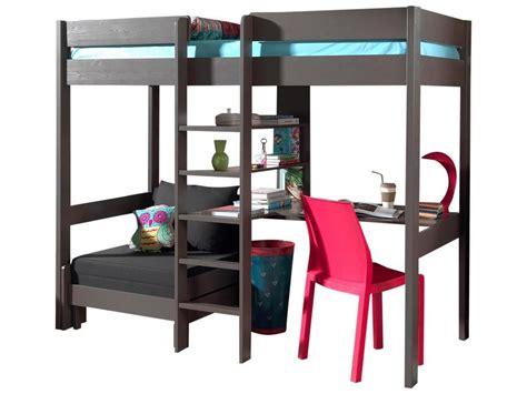 lit mezzanine avec bureau acheter le lit mezzanine lena taupe