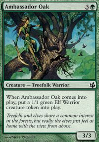 Mtg Green Treefolk Deck ambassador oak morningtide magic the gathering single