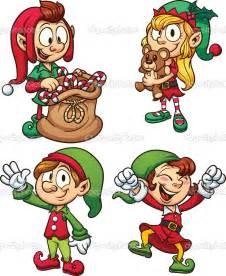 Cartoon Christmas Elves Clip Art