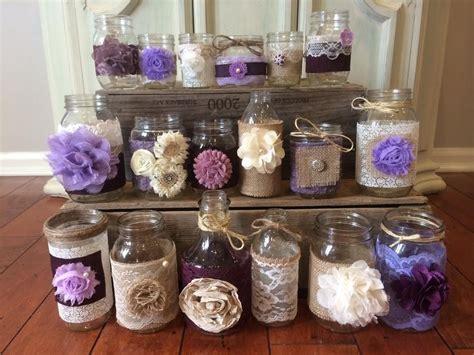 lavender lilac wedding decor 15 bulk burlap lace jars and bottles table decor