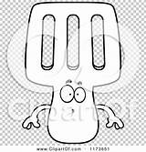 Spatula Coloring Mascot Surprised Outlined Clipart Cartoon Vector Cory Thoman sketch template
