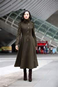 Army Green Wool Long Coat Woman