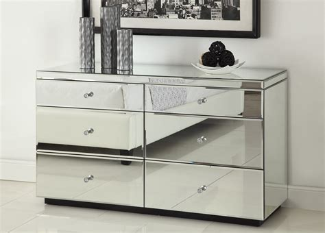 Rio Crystal Mirrored Dressing Table 6 Drawer Dresser Chest Mirror Furniture