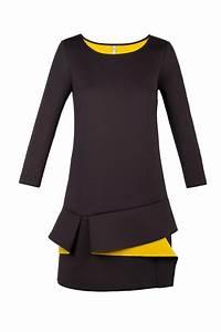 robe neoprene bicolore noir moutarde volant tesis cop With robe noire volant