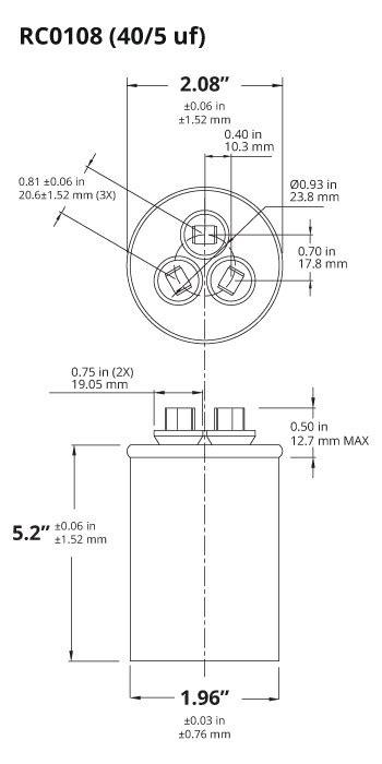 temco 40 5 mfd uf dual run capacitor 370 440 vac volts ac