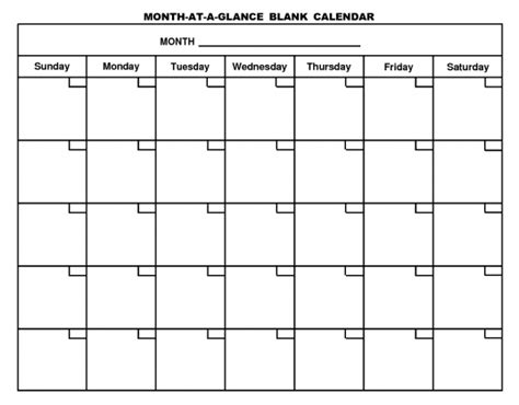 Blank One Month Calendar Template by Blank 1 Month Calendar Printable Calendar Template 2018