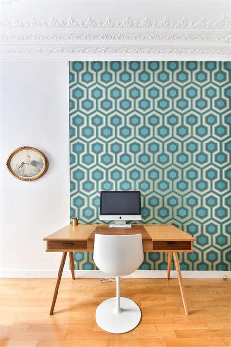 bureau peint papier peint pour délimiter l 39 espace bureau