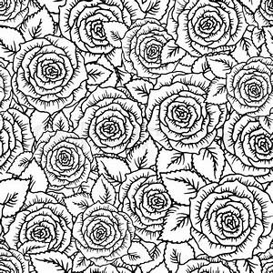 Beautiful black and white seamless pattern roses with ...
