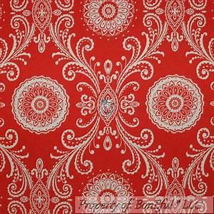 BonEful Fabric FQ Woven Decor Red Orange Cream Large