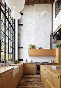 Double, Height, Kitchen, With, Steel, Framed, Windows, And, Original, Brick, In, The, Clinton, Hill