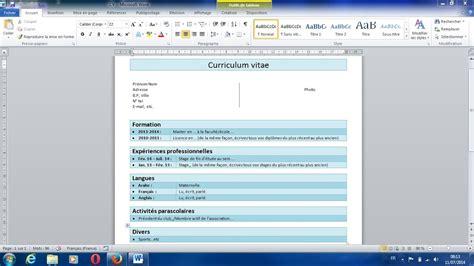 Comment Créer Un Cv by Comment Creer Un Cv Simple Sur Word Exemple Bon Cv