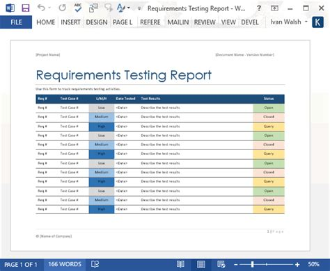 requirements testing report ms word software testing