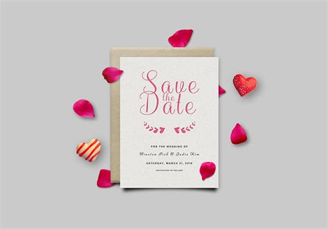 save  date invitation card mockup psd graphicsfuel