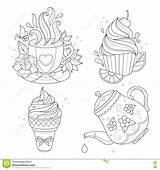 Coloring Pot Stew Template Tea Ice Cream Colouring Cup sketch template