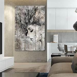 Tableau En Bois Décoration : tableau d co bois de palette portrait de femme ~ Teatrodelosmanantiales.com Idées de Décoration