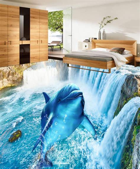 custom photo waterfall dolphin 3d floor wallpaper pvc vinyl wallpapers 3d pvc floor bathroom