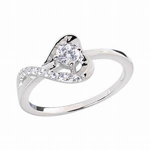 Sterling silver round cubic zirconia heart women jewelry for Sterling silver cubic zirconia wedding rings