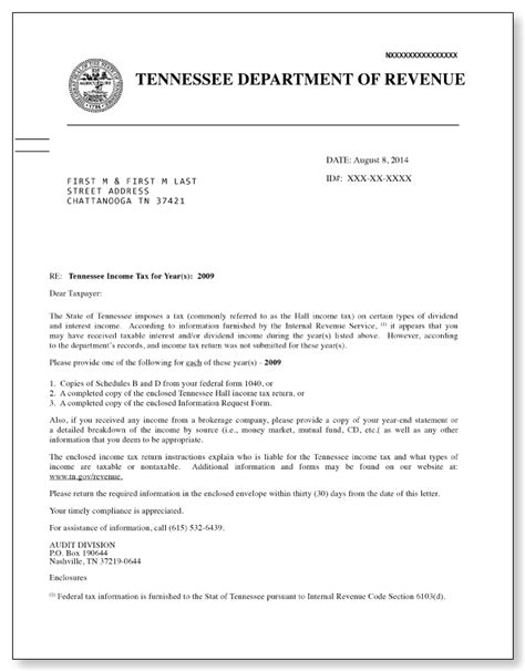tennessee hall income tax letter sample