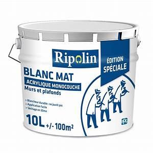 Leroy Merlin Peinture Blanche : peinture blanche mur et plafond ripolin mat 10 l leroy ~ Dailycaller-alerts.com Idées de Décoration