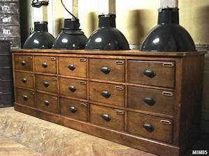 Poignée Meuble Industriel : meuble de bonneterie vers 1940 15 tiroirs poign es coquilles ouvrag es portes tiquettes ~ Teatrodelosmanantiales.com Idées de Décoration