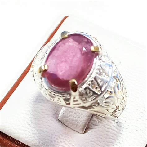 jual cincin batu akik permata natural cutting pink ruby