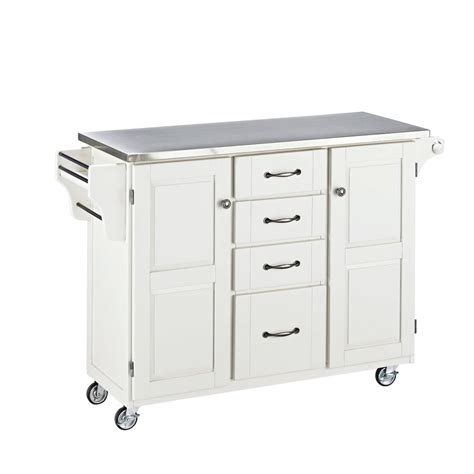 large mobile kitchen cart white base  stainless steel top