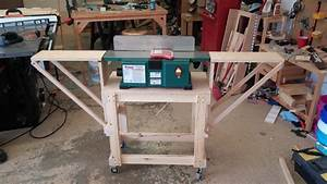 Benchtop jointer stand with folding extension wings - by