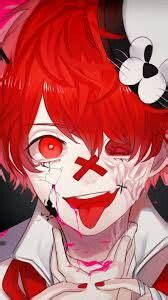 psycho anime boy red hair red eyes scarred anime