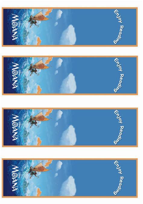 moana bookmarks birthday printable