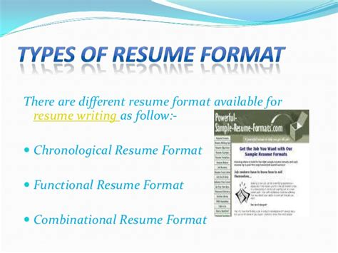 3 Different Styles Of Resumes by Types Of Resume Format