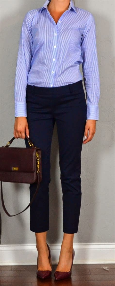 Outfit Posts Guest outfit post - sister week striped shirt navy crop pants maroon heels and ...