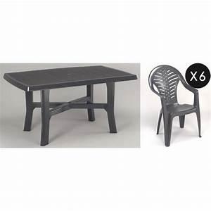 Table De Jardin Plastique : ensemble repas jardin plastique gris 6 places achat ~ Dailycaller-alerts.com Idées de Décoration