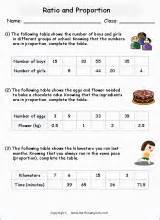 complete ratio tables printable grade  math worksheet