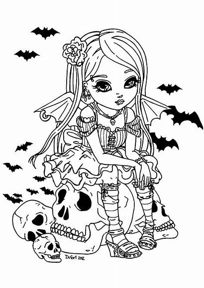 Coloring Vampire Halloween Adult Fille Colorare Adults