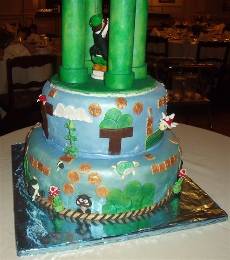 Mario Video Game Theme Wedding Cake Bottom Tiers View 4