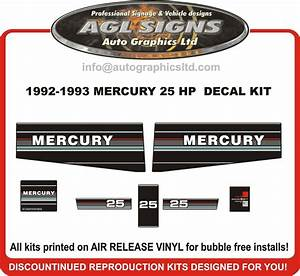 1992 1993 Mercury 25 Hp Outboard Motor Decal Set